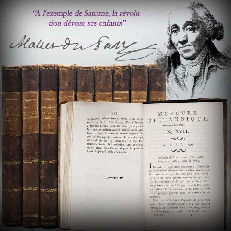 Mercure Britannique Five Volumes in Nine [All Thirty-Six Issues Bound in Nine Octavo Volumes]. Jacques Mallet Du Pan.