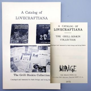 A Catalog of Lovecraftiana. Mark Owings, Irving Binkin