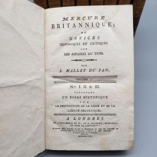Mercure Britannique Five Volumes in Nine [All Thirty-Six Issues Bound in Nine Octavo Volumes]